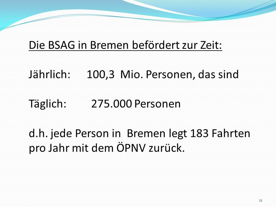 Die BSAG in Bremen befördert zur Zeit: Jährlich: 100,3 Mio. Personen, das sind Täglich: 275.000 Personen d.h. jede Person in Bremen legt 183 Fahrten p