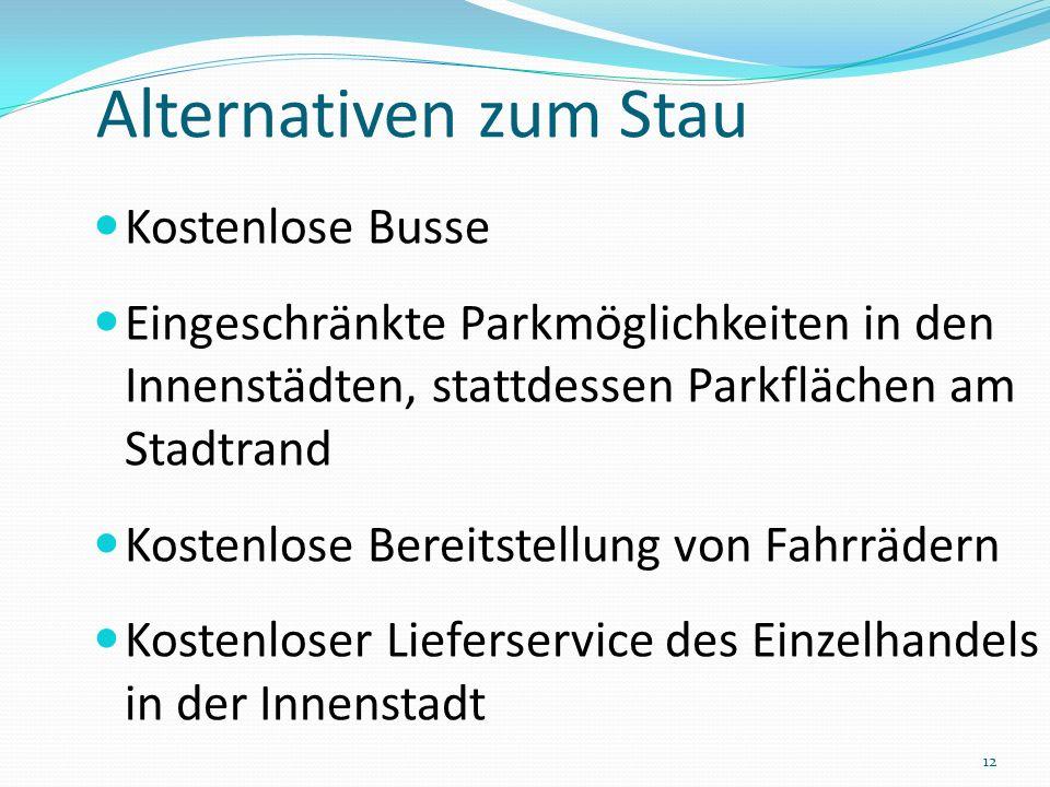 Alternativen zum Stau Kostenlose Busse Eingeschränkte Parkmöglichkeiten in den Innenstädten, stattdessen Parkflächen am Stadtrand Kostenlose Bereitste