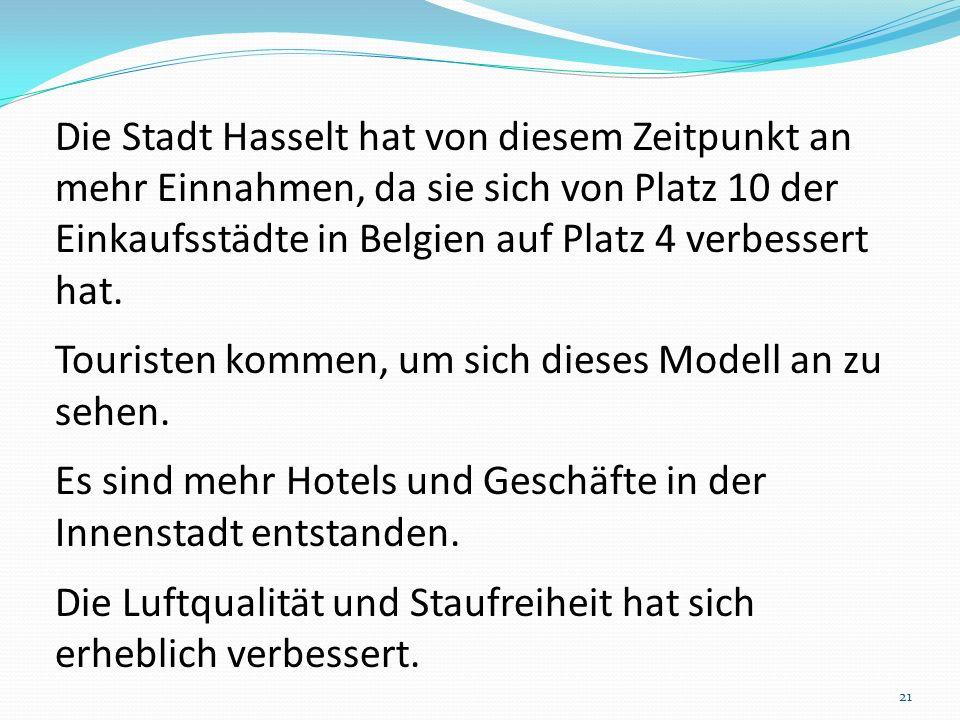 Die Stadt Hasselt hat von diesem Zeitpunkt an mehr Einnahmen, da sie sich von Platz 10 der Einkaufsstädte in Belgien auf Platz 4 verbessert hat. Touri