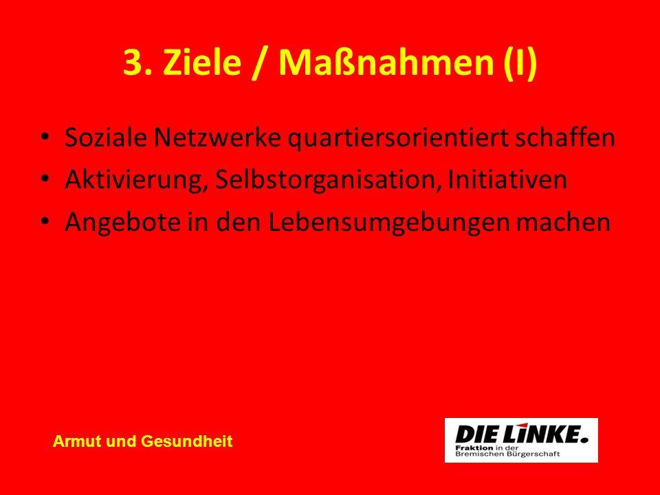 3. Ziele / Maßnahmen (I) Soziale Netzwerke quartiersorientiert schaffen Aktivierung, Selbstorganisation, Initiativen Angebote in den Lebensumgebungen