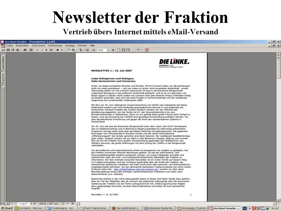 Newsletter der Fraktion Vertrieb übers Internet mittels eMail-Versand