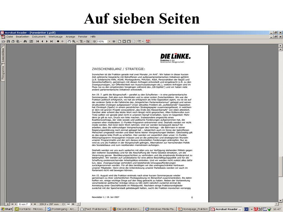 Auf sieben Seiten