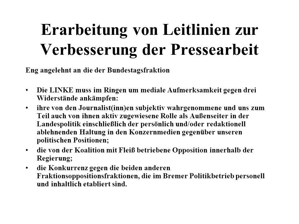 Erarbeitung von Leitlinien zur Verbesserung der Pressearbeit Eng angelehnt an die der Bundestagsfraktion Die LINKE muss im Ringen um mediale Aufmerksamkeit gegen drei Widerstände ankämpfen: ihre von den Journalist(inn)en subjektiv wahrgenommene und uns zum Teil auch von ihnen aktiv zugewiesene Rolle als Außenseiter in der Landespolitik einschließlich der persönlich und/oder redaktionell ablehnenden Haltung in den Konzernmedien gegenüber unseren politischen Positionen; die von der Koalition mit Fleiß betriebene Opposition innerhalb der Regierung; die Konkurrenz gegen die beiden anderen Fraktionsoppositionsfraktionen, die im Bremer Politikbetrieb personell und inhaltlich etabliert sind.