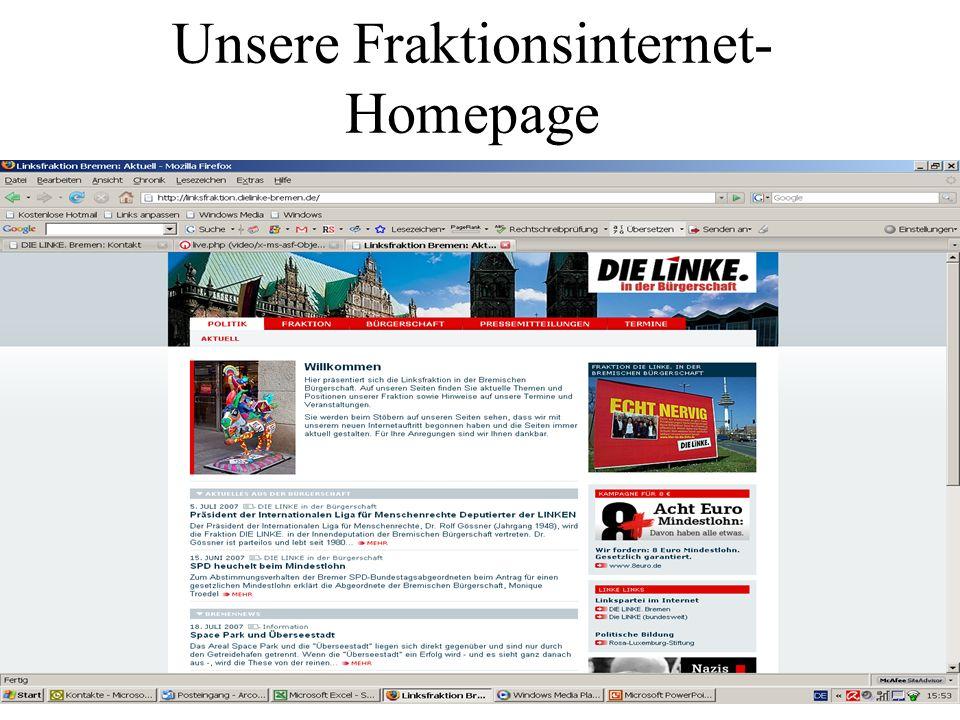 Unsere Fraktionsinternet- Homepage