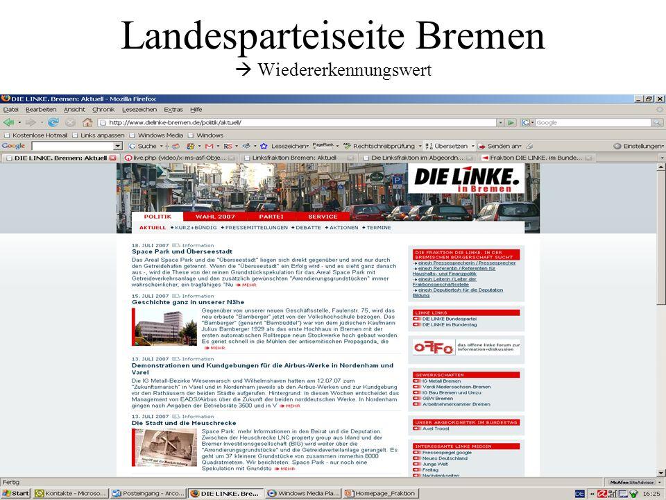 Landesparteiseite Bremen Wiedererkennungswert