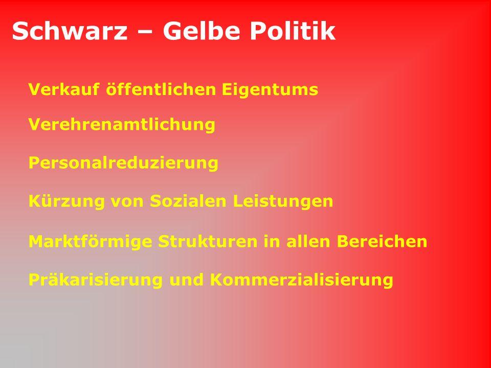 Schwarz – Gelbe Politik Verkauf öffentlichen Eigentums Verehrenamtlichung Personalreduzierung Kürzung von Sozialen Leistungen Marktförmige Strukturen in allen Bereichen Präkarisierung und Kommerzialisierung