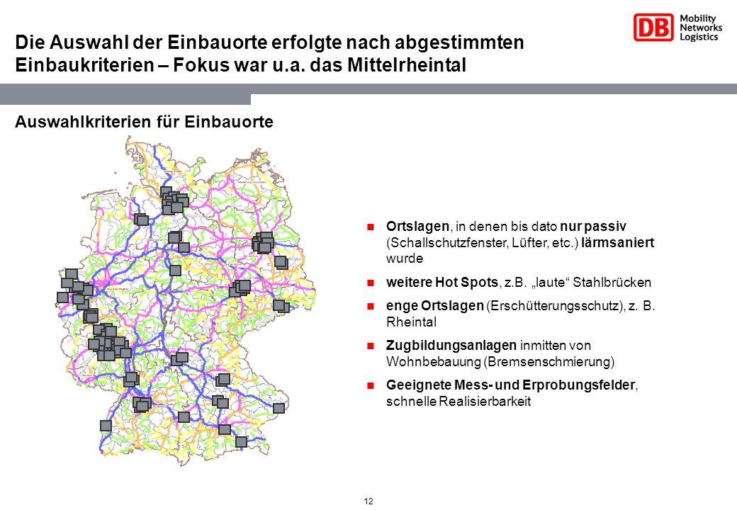 12 Die Auswahl der Einbauorte erfolgte nach abgestimmten Einbaukriterien – Fokus war u.a. das Mittelrheintal Ortslagen, in denen bis dato nur passiv (