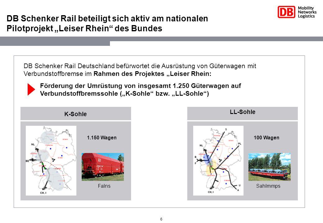 6 DB Schenker Rail beteiligt sich aktiv am nationalen Pilotprojekt Leiser Rhein des Bundes DB Schenker Rail Deutschland befürwortet die Ausrüstung von