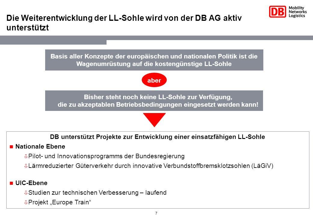 7 Die Weiterentwicklung der LL-Sohle wird von der DB AG aktiv unterstützt Basis aller Konzepte der europäischen und nationalen Politik ist die Wagenum