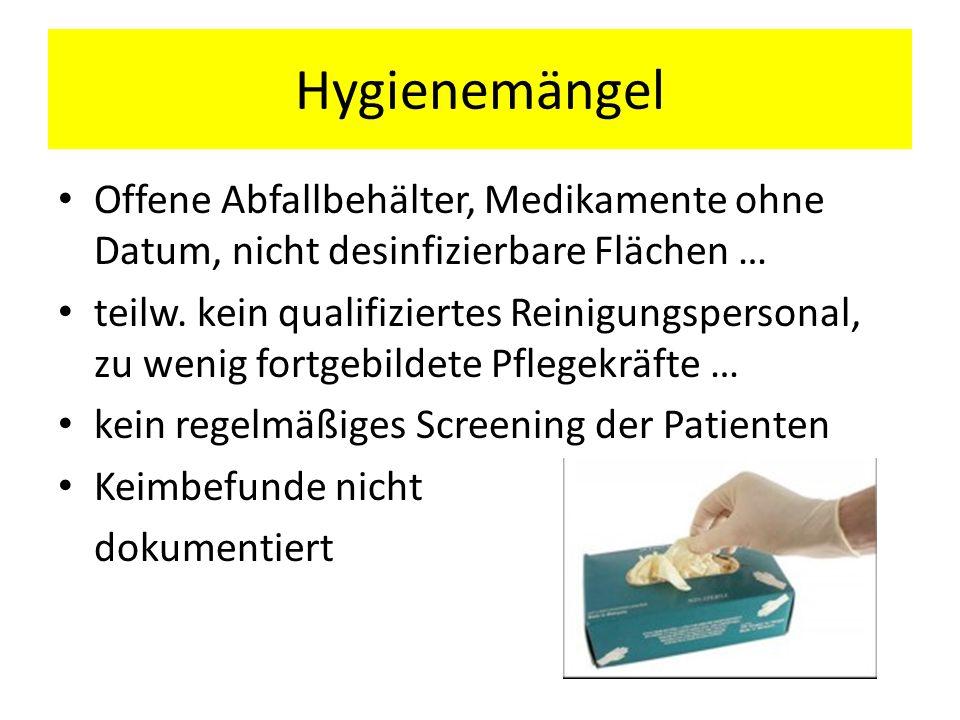 Hygienemängel Offene Abfallbehälter, Medikamente ohne Datum, nicht desinfizierbare Flächen … teilw. kein qualifiziertes Reinigungspersonal, zu wenig f