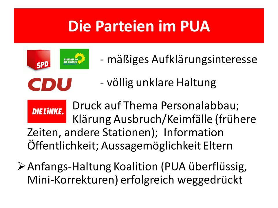 Die Parteien im PUA - mäßiges Aufklärungsinteresse - völlig unklare Haltung Druck auf Thema Personalabbau; Klärung Ausbruch/Keimfälle (frühere Zeiten,