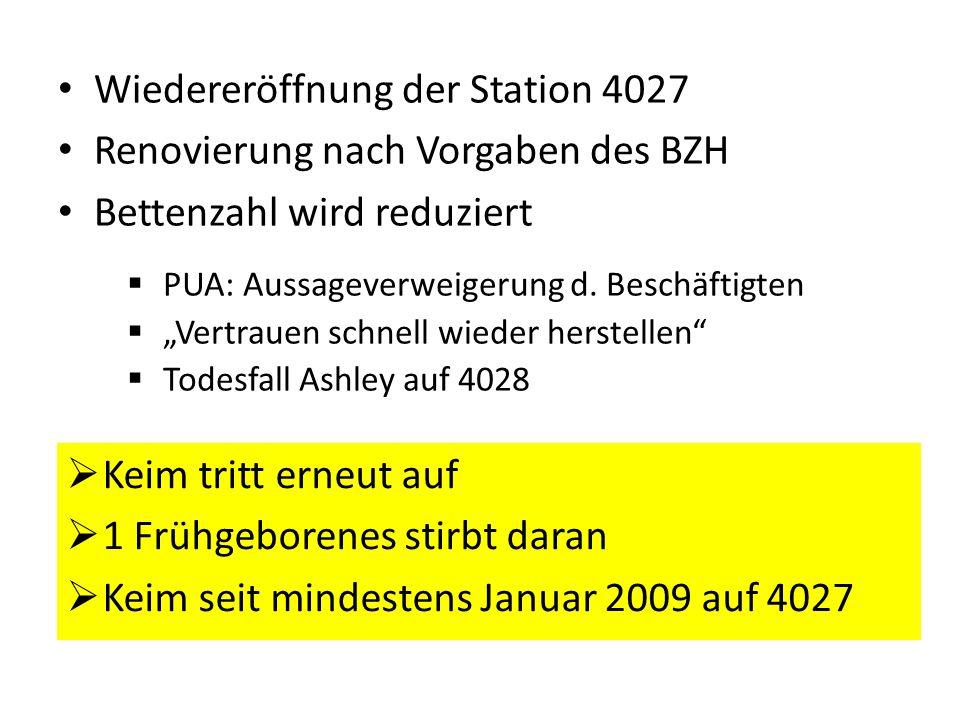 Wiedereröffnung der Station 4027 Renovierung nach Vorgaben des BZH Bettenzahl wird reduziert PUA: Aussageverweigerung d. Beschäftigten Vertrauen schne