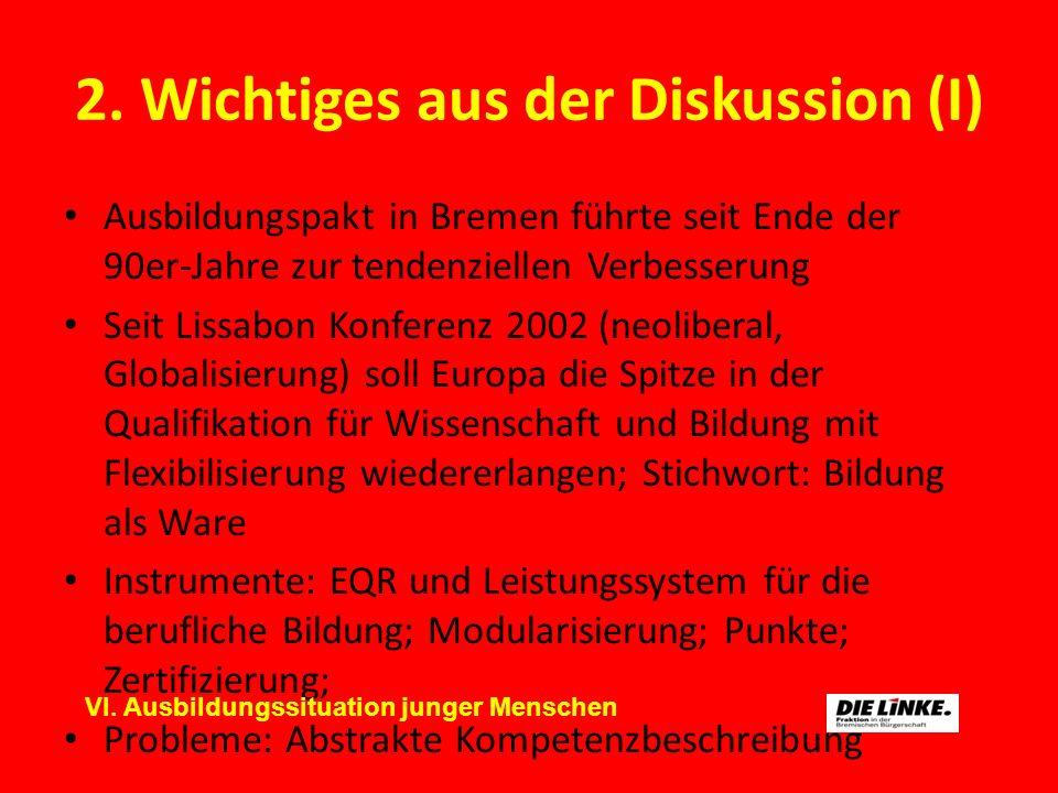 2. Wichtiges aus der Diskussion (I) Ausbildungspakt in Bremen führte seit Ende der 90er-Jahre zur tendenziellen Verbesserung Seit Lissabon Konferenz 2