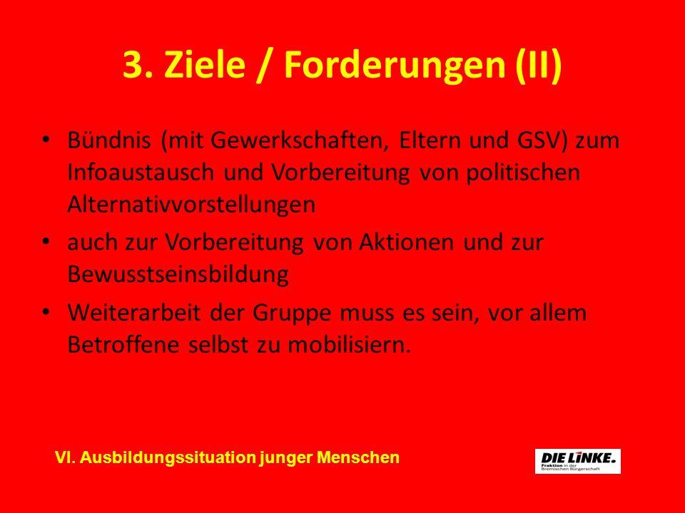 3. Ziele / Forderungen (II) Bündnis (mit Gewerkschaften, Eltern und GSV) zum Infoaustausch und Vorbereitung von politischen Alternativvorstellungen au