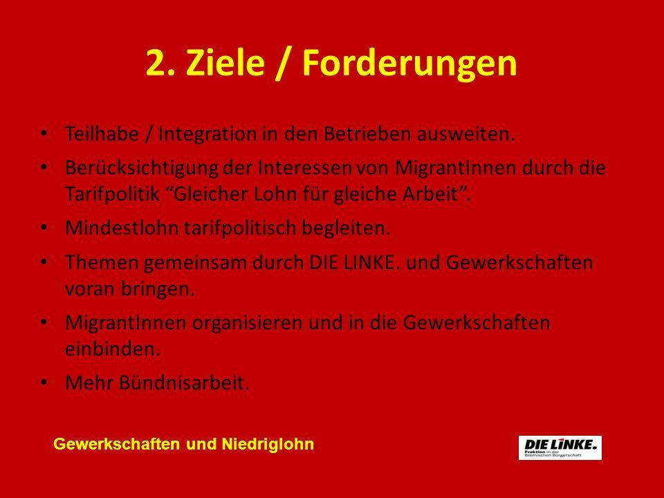 2. Ziele / Forderungen Teilhabe / Integration in den Betrieben ausweiten. Berücksichtigung der Interessen von MigrantInnen durch die Tarifpolitik Glei