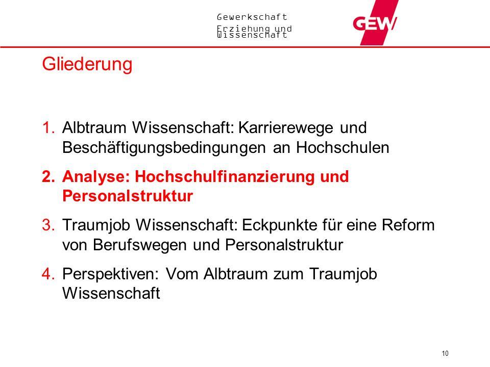 Gewerkschaft Erziehung und Wissenschaft 10 Gliederung 1.Albtraum Wissenschaft: Karrierewege und Beschäftigungsbedingungen an Hochschulen 2.Analyse: Ho
