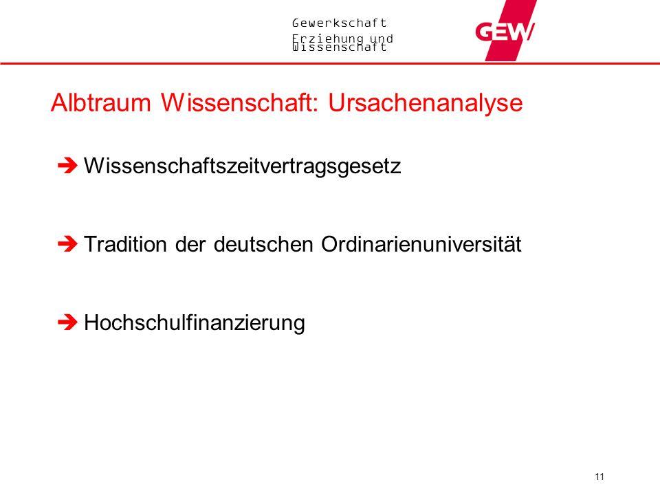 Gewerkschaft Erziehung und Wissenschaft 11 Albtraum Wissenschaft: Ursachenanalyse Wissenschaftszeitvertragsgesetz Tradition der deutschen Ordinarienun