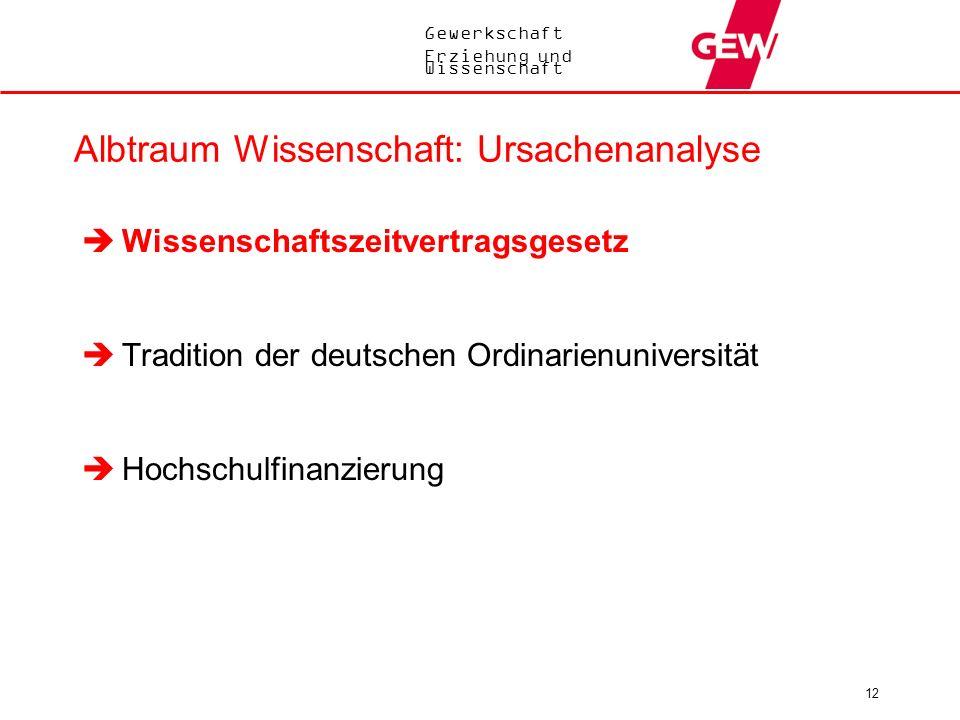 Gewerkschaft Erziehung und Wissenschaft 12 Albtraum Wissenschaft: Ursachenanalyse Wissenschaftszeitvertragsgesetz Tradition der deutschen Ordinarienun