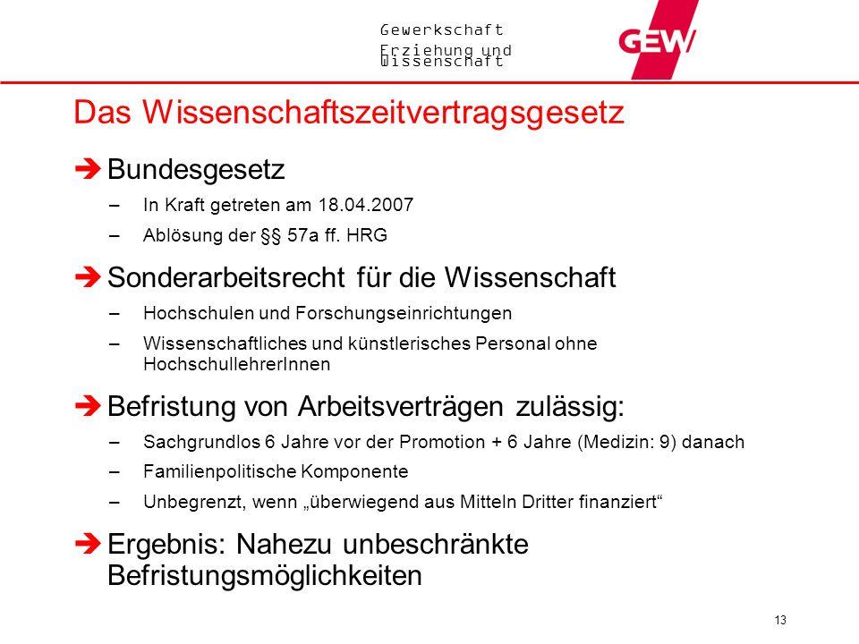 Gewerkschaft Erziehung und Wissenschaft 13 Das Wissenschaftszeitvertragsgesetz Bundesgesetz –In Kraft getreten am 18.04.2007 –Ablösung der §§ 57a ff.