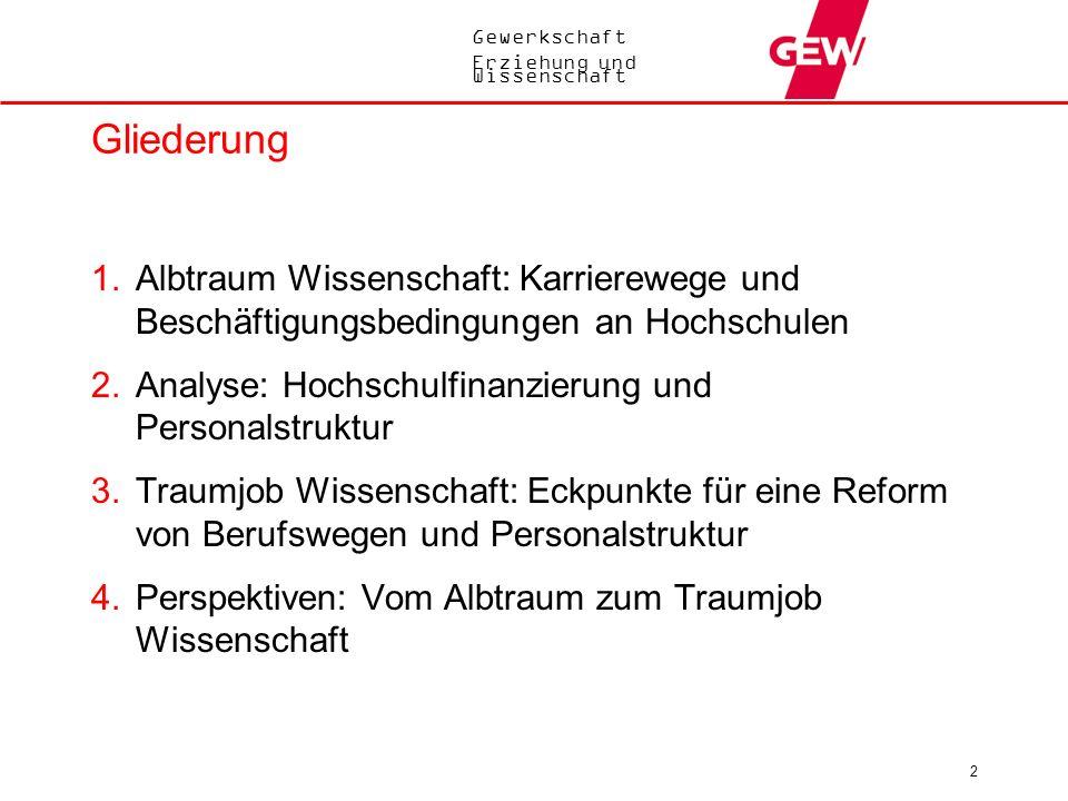 Gewerkschaft Erziehung und Wissenschaft 2 Gliederung 1.Albtraum Wissenschaft: Karrierewege und Beschäftigungsbedingungen an Hochschulen 2.Analyse: Hoc