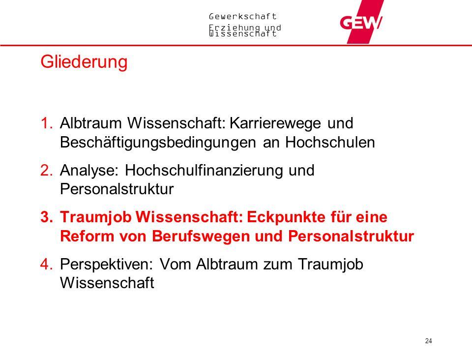 Gewerkschaft Erziehung und Wissenschaft 24 Gliederung 1.Albtraum Wissenschaft: Karrierewege und Beschäftigungsbedingungen an Hochschulen 2.Analyse: Ho