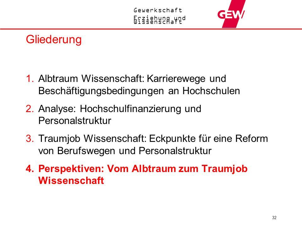 Gewerkschaft Erziehung und Wissenschaft 32 Gliederung 1.Albtraum Wissenschaft: Karrierewege und Beschäftigungsbedingungen an Hochschulen 2.Analyse: Ho