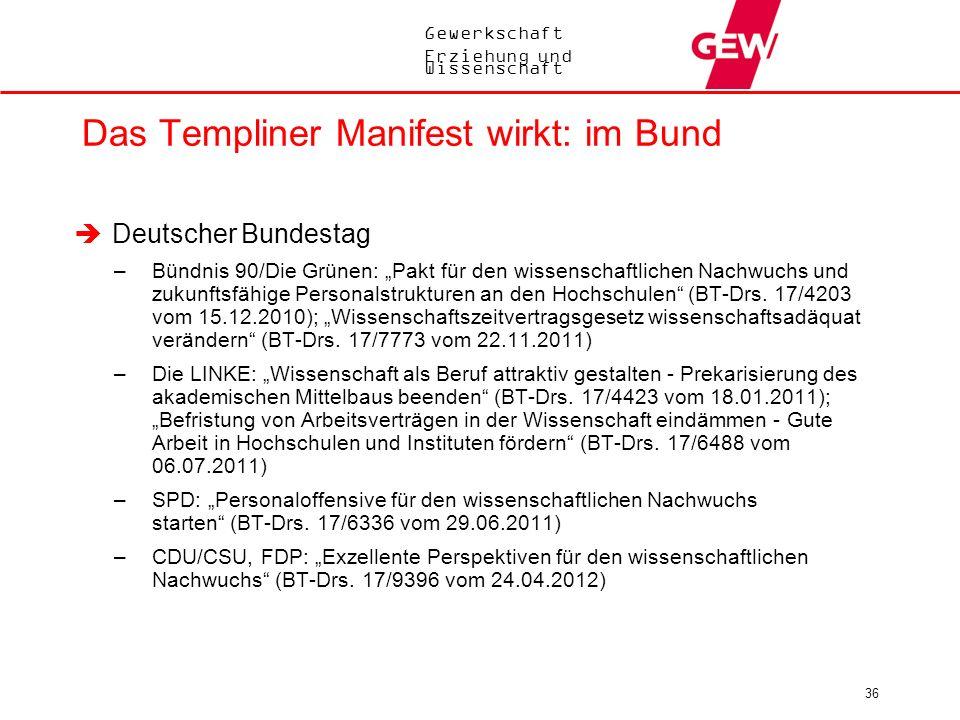 Gewerkschaft Erziehung und Wissenschaft 36 Das Templiner Manifest wirkt: im Bund Deutscher Bundestag –Bündnis 90/Die Grünen: Pakt für den wissenschaft