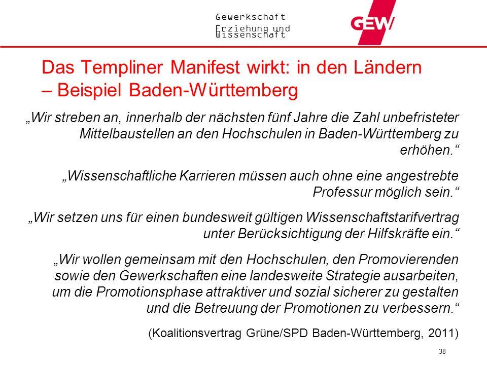 Gewerkschaft Erziehung und Wissenschaft 38 Das Templiner Manifest wirkt: in den Ländern – Beispiel Baden-Württemberg Wir streben an, innerhalb der näc