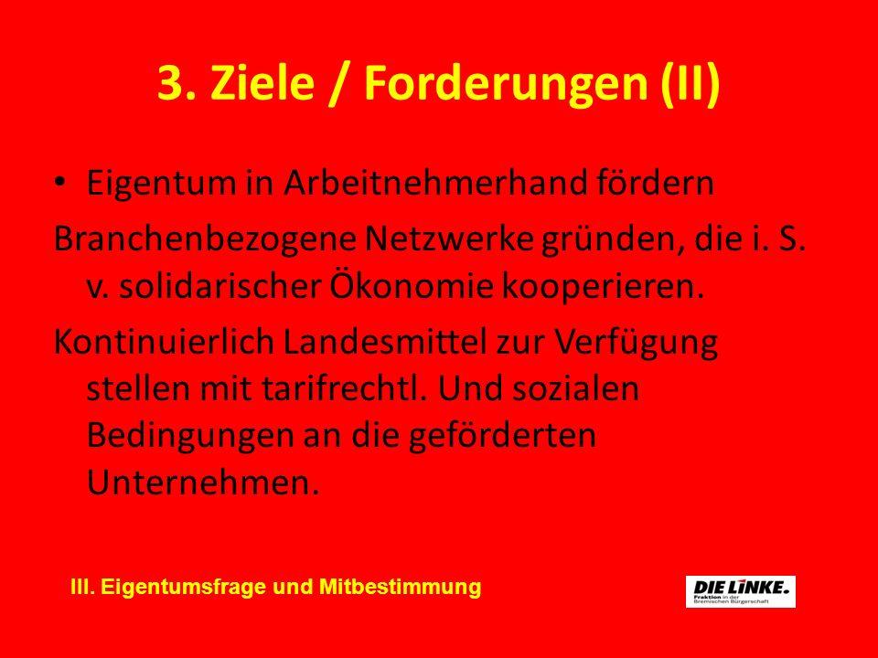 3. Ziele / Forderungen (II) Eigentum in Arbeitnehmerhand fördern Branchenbezogene Netzwerke gründen, die i. S. v. solidarischer Ökonomie kooperieren.