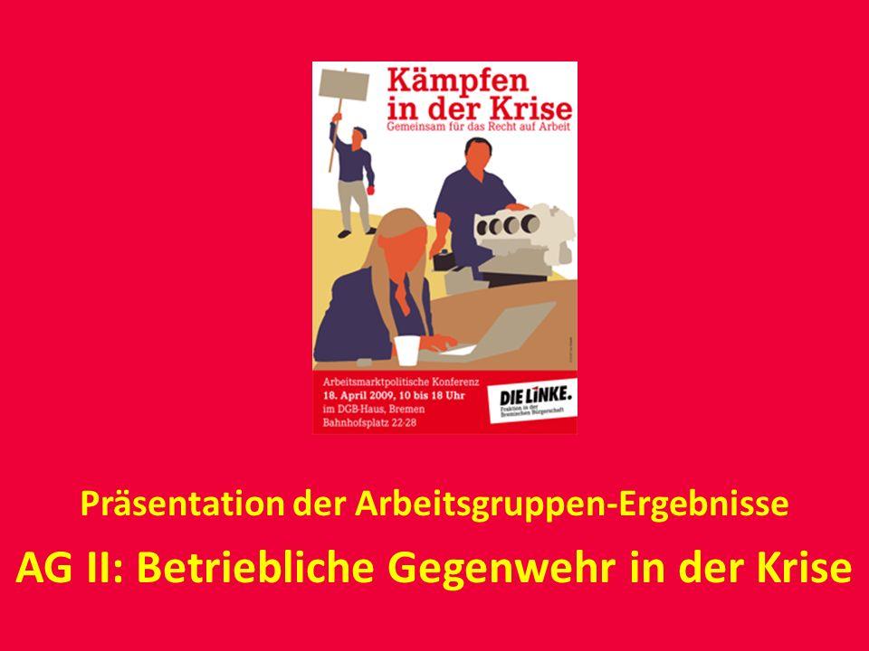 Präsentation der Arbeitsgruppen-Ergebnisse AG II: Betriebliche Gegenwehr in der Krise
