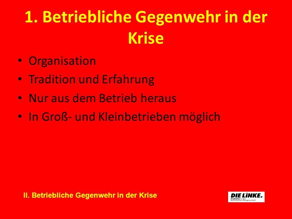 1. Betriebliche Gegenwehr in der Krise Organisation Tradition und Erfahrung Nur aus dem Betrieb heraus In Groß- und Kleinbetrieben möglich II. Betrieb