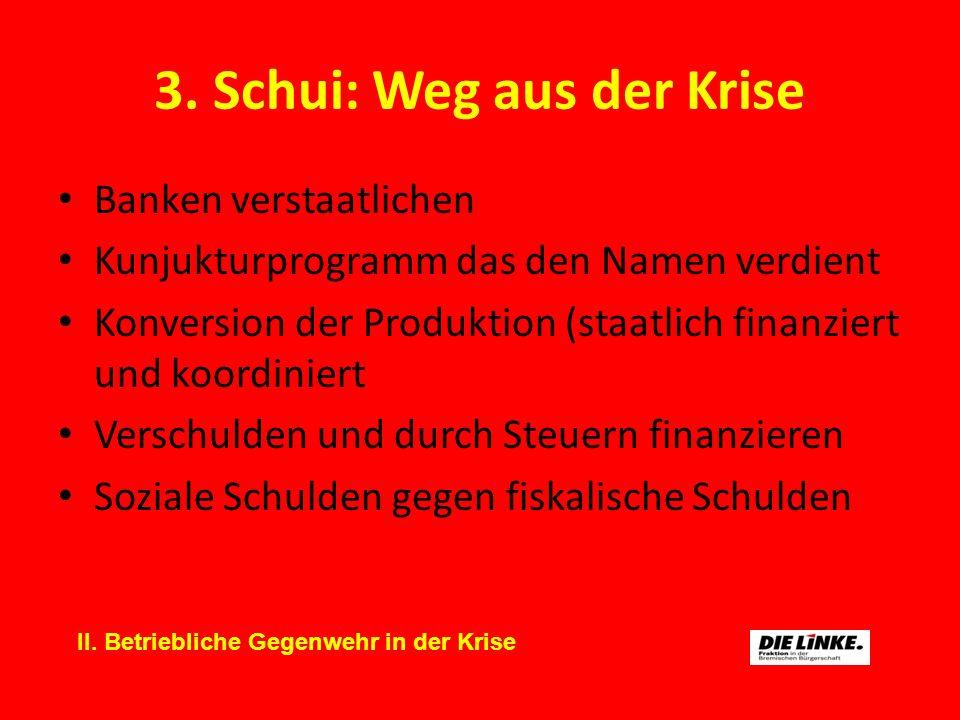 3. Schui: Weg aus der Krise Banken verstaatlichen Kunjukturprogramm das den Namen verdient Konversion der Produktion (staatlich finanziert und koordin