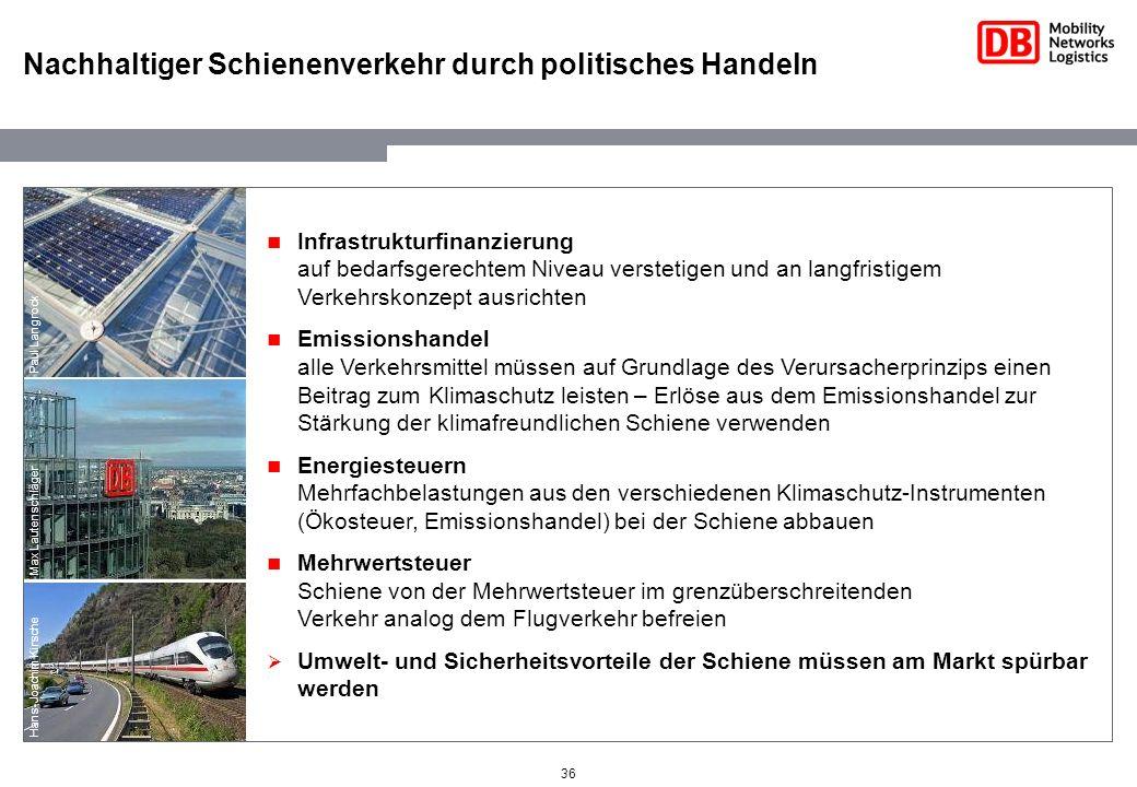 36 Nachhaltiger Schienenverkehr durch politisches Handeln Max Lautenschläger Hans-Joachim Kirsche Paul Langrock Infrastrukturfinanzierung auf bedarfsg