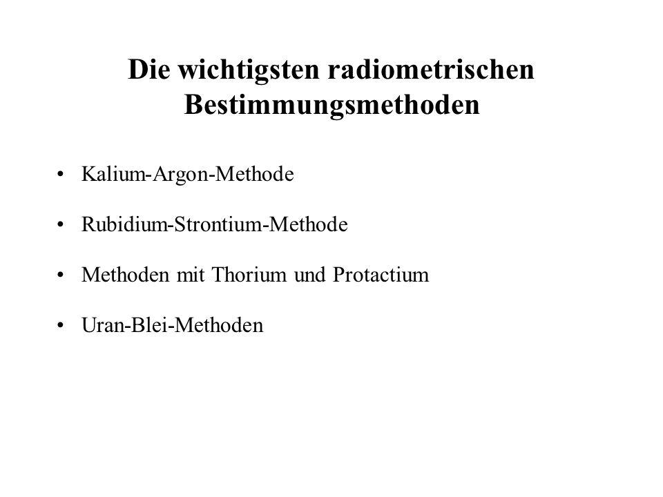 Die wichtigsten radiometrischen Bestimmungsmethoden Kalium-Argon-Methode Rubidium-Strontium-Methode Methoden mit Thorium und Protactium Uran-Blei-Meth
