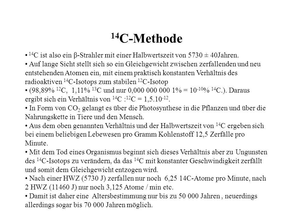 14 C-Methode 14 C ist also ein β-Strahler mit einer Halbwertszeit von 5730 ± 40Jahren. Auf lange Sicht stellt sich so ein Gleichgewicht zwischen zerfa