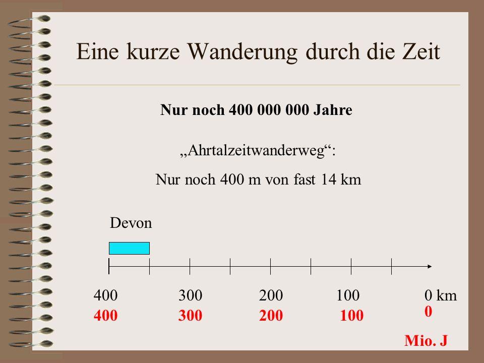 Eine kurze Wanderung durch die Zeit Ahrtalzeitwanderweg: Nur noch 400 m von fast 14 km Nur noch 400 000 000 Jahre 300200100400 0 km 400300200100 0 Mio