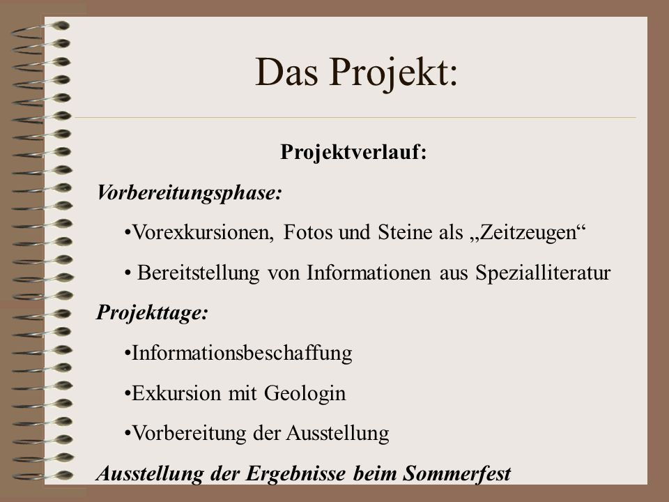 Das Projekt: Projektverlauf: Vorbereitungsphase: Vorexkursionen, Fotos und Steine als Zeitzeugen Bereitstellung von Informationen aus Spezialliteratur