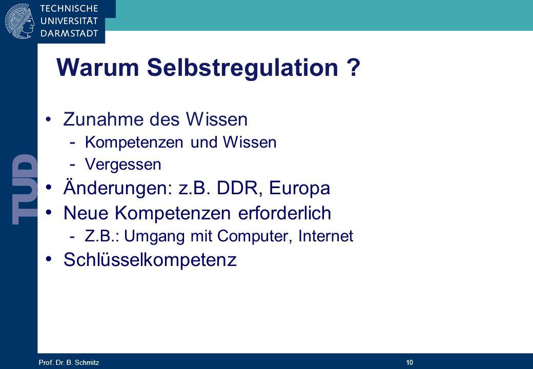 Prof. Dr. B. Schmitz 10 Warum Selbstregulation ? Zunahme des Wissen - Kompetenzen und Wissen - Vergessen Änderungen: z.B. DDR, Europa Neue Kompetenzen