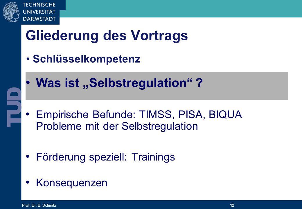 Prof. Dr. B. Schmitz 12 Gliederung des Vortrags Was ist Selbstregulation ? Empirische Befunde: TIMSS, PISA, BIQUA Probleme mit der Selbstregulation Fö