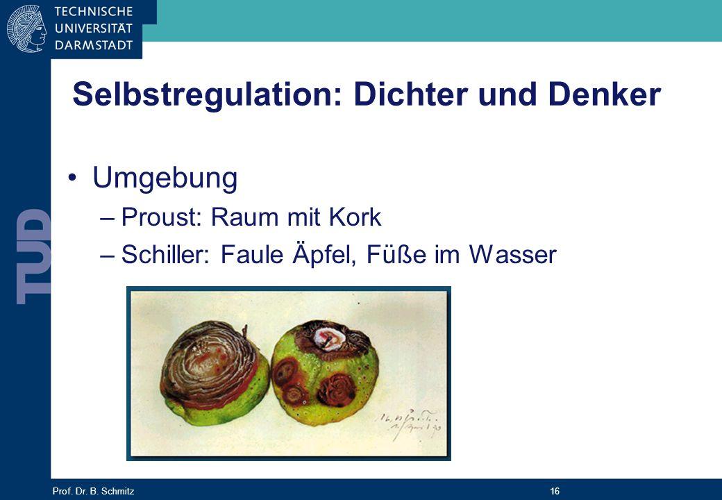 Prof. Dr. B. Schmitz 16 Selbstregulation: Dichter und Denker Umgebung –Proust: Raum mit Kork –Schiller: Faule Äpfel, Füße im Wasser
