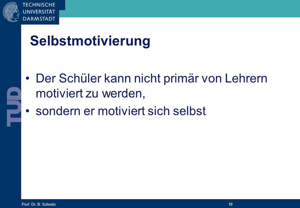 Prof. Dr. B. Schmitz 19 Selbstmotivierung Der Schüler kann nicht primär von Lehrern motiviert zu werden, sondern er motiviert sich selbst