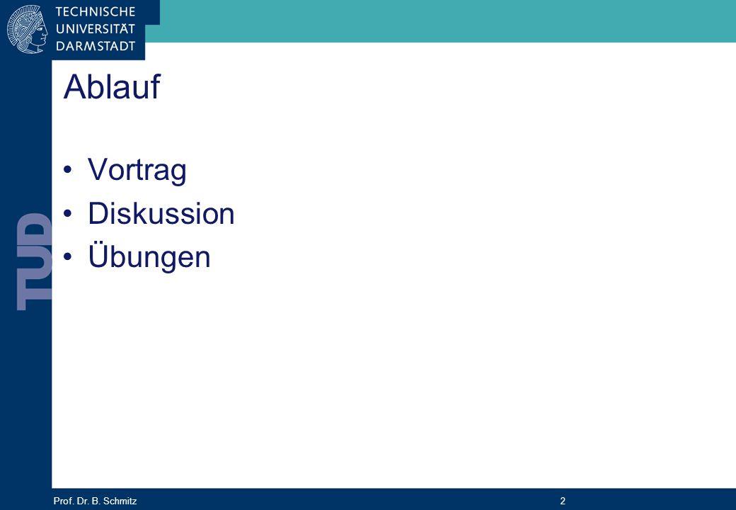 Prof. Dr. B. Schmitz 2 Ablauf Vortrag Diskussion Übungen