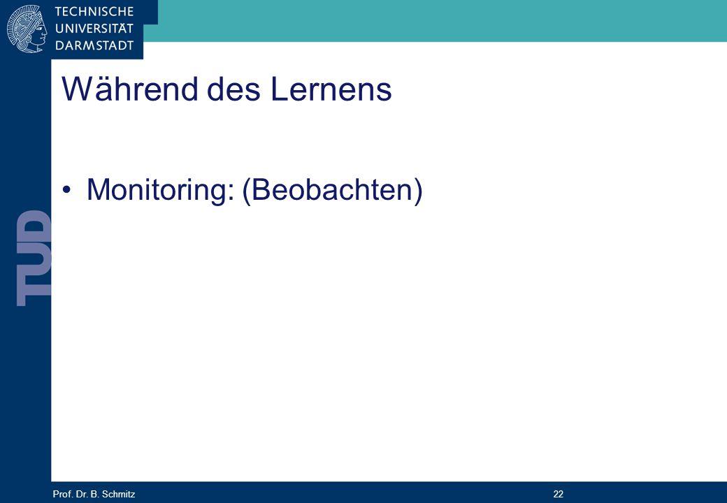 Prof. Dr. B. Schmitz 22 Während des Lernens Monitoring: (Beobachten)