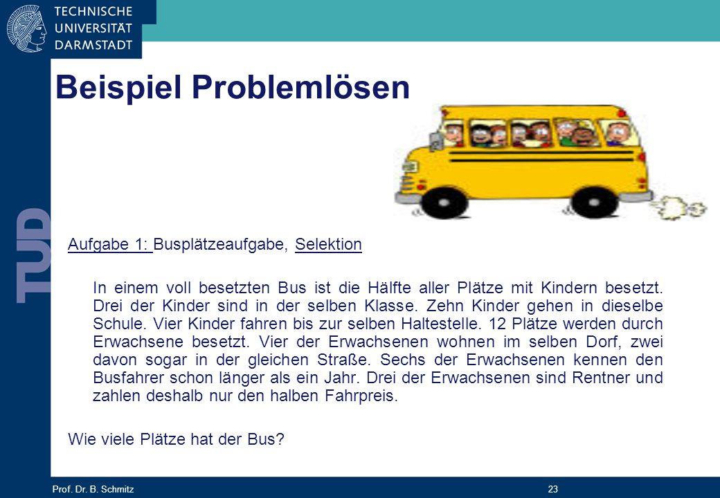 Prof. Dr. B. Schmitz 23 Aufgabe 1: Busplätzeaufgabe, Selektion In einem voll besetzten Bus ist die Hälfte aller Plätze mit Kindern besetzt. Drei der K