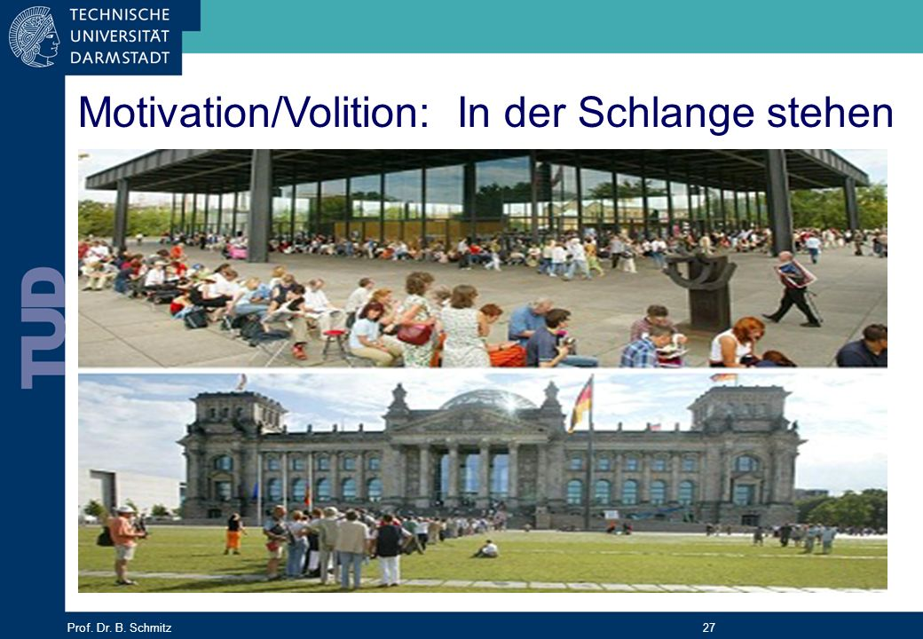 Prof. Dr. B. Schmitz 27 Motivation/Volition: In der Schlange stehen