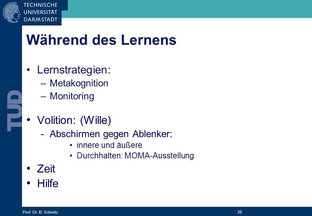 Prof. Dr. B. Schmitz 29 Während des Lernens Lernstrategien: –Metakognition –Monitoring Volition: (Wille) -Abschirmen gegen Ablenker: innere und äußere