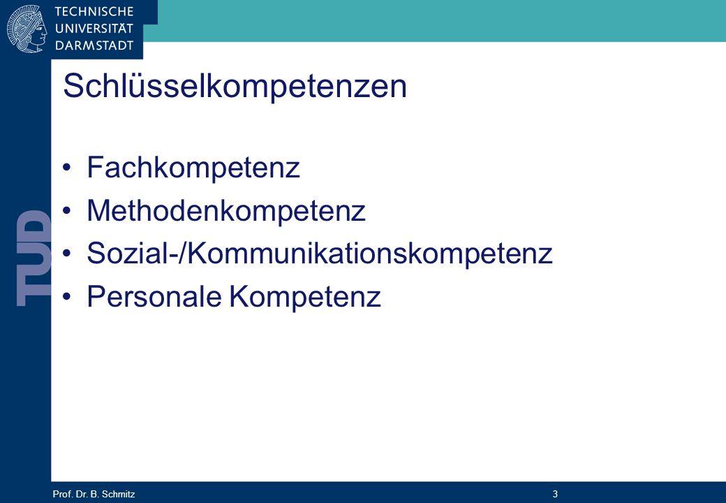 Prof. Dr. B. Schmitz 3 Schlüsselkompetenzen Fachkompetenz Methodenkompetenz Sozial-/Kommunikationskompetenz Personale Kompetenz