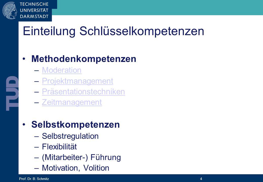 Prof. Dr. B. Schmitz 4 Einteilung Schlüsselkompetenzen Methodenkompetenzen –ModerationModeration –ProjektmanagementProjektmanagement –Präsentationstec