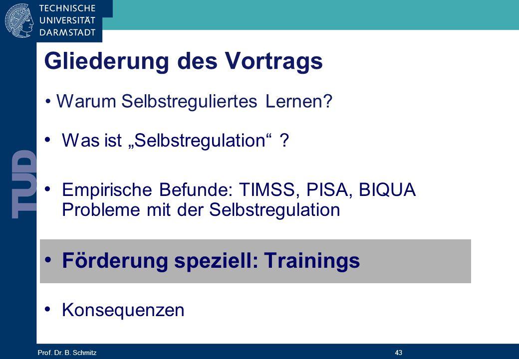 Prof. Dr. B. Schmitz 43 Gliederung des Vortrags Was ist Selbstregulation ? Empirische Befunde: TIMSS, PISA, BIQUA Probleme mit der Selbstregulation Fö
