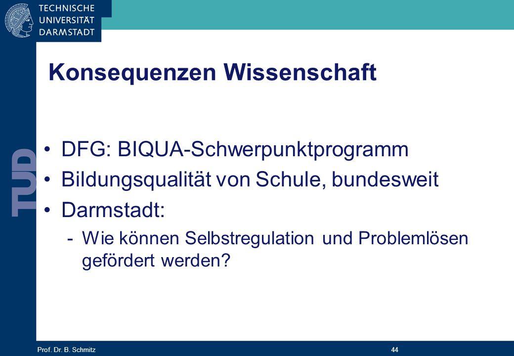 Prof. Dr. B. Schmitz 44 Konsequenzen Wissenschaft DFG: BIQUA-Schwerpunktprogramm Bildungsqualität von Schule, bundesweit Darmstadt: -Wie können Selbst